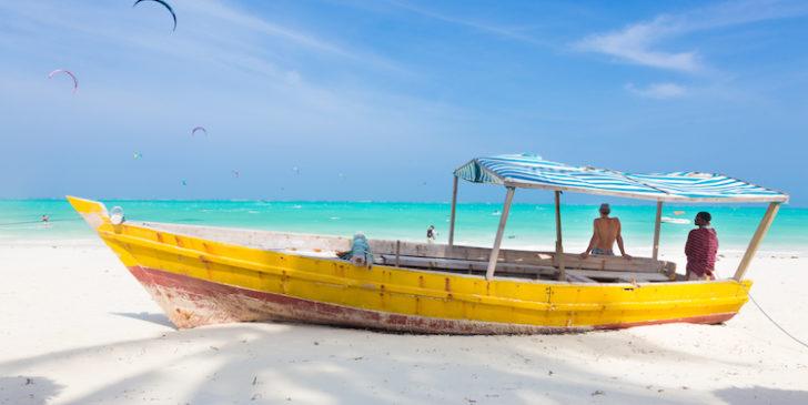 White tropical sandy beach on Zanzibar.